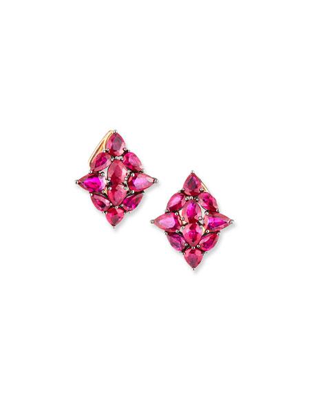 Etho Maria 18k Rose Gold Ruby Leaf Earrings