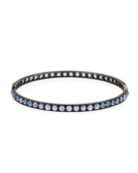 Yossi Harari Oxidized Gilver Blue Sapphire Bangle