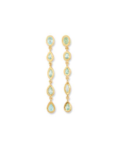 24k Gold Carmen Tourmaline Long Drop Earrings