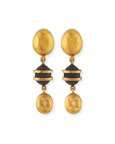 24k Helen Mini Dangle Earrings w/ Gilver & Diamonds