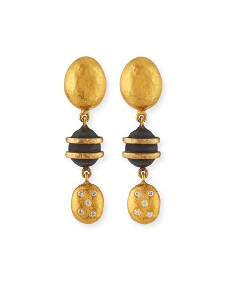 Yossi Harari 24k Helen Mini Dangle Earrings w/ Gilver & Diamonds