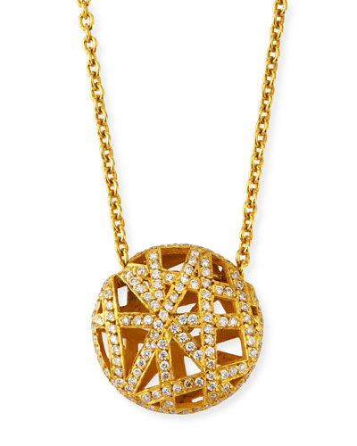 18k Diamond Pave Overlap Lace Pendant Necklace