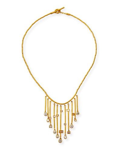 Reyna 24k Gold Diamond 11-Bar Necklace