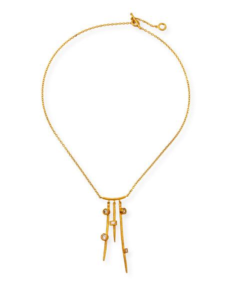 Yossi Harari 24k Diamond Triple-Bar Necklace