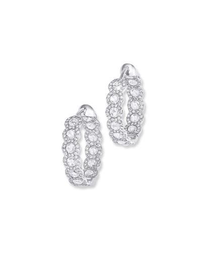 18k White Gold Diamond Inside-Out Hoop Earrings, 0.75