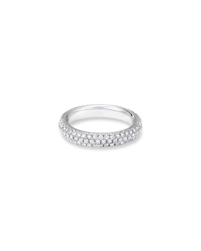 18k White Gold Smooth Diamond Pave Ring, Size 6