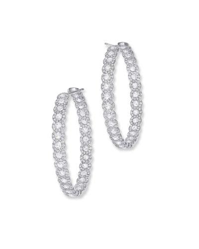 18k White Gold Diamond Inside-Out Hoop Earrings, 1.25