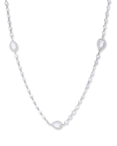 18k White Gold Diamond Pear-Station Necklace, 32
