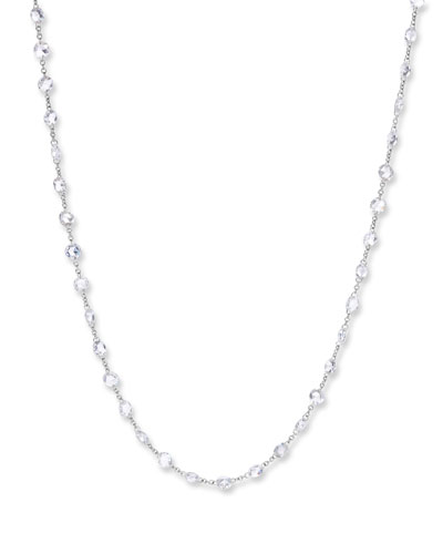 18k White Gold Rose-Cut Diamond-Strand Necklace, 64