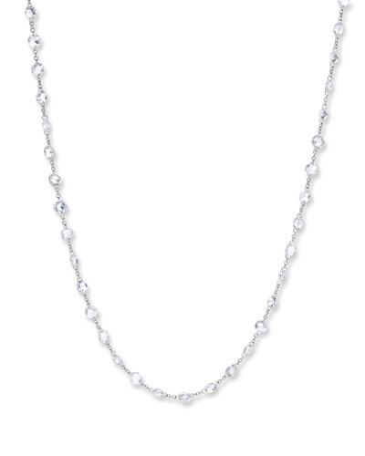 18k White Gold Rose-Cut Diamond-Strand Necklace, 18