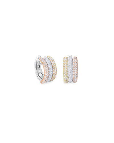 18k Tricolor Diamond Huggie Hoop Earrings