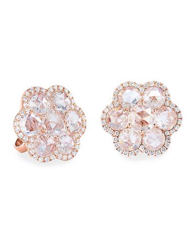 18k Rose Gold Diamond Flower Stud Earrings