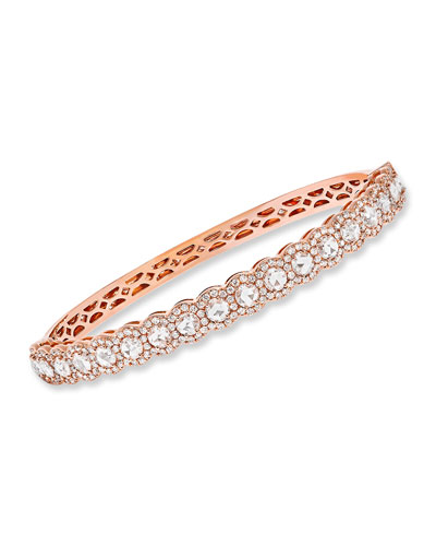 18k Rose Gold Half Scalloped & Scattered Diamond Bangle