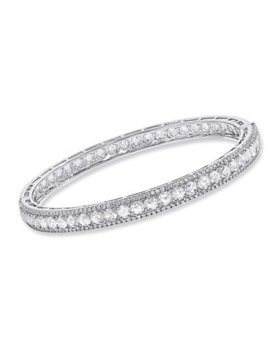 18K White Gold Linear Hinged Diamond Bracelet