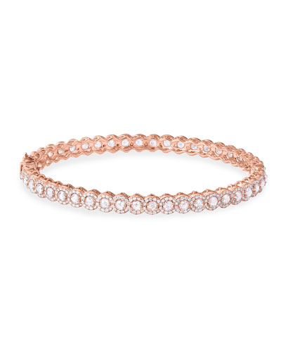 18k Rose Gold Scallop Diamond Bangle