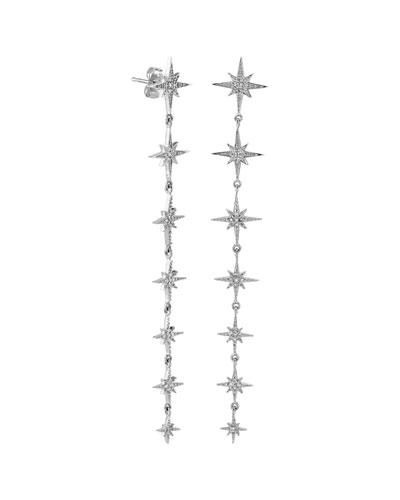 14k White Gold Diamond Starburst Drop Earrings