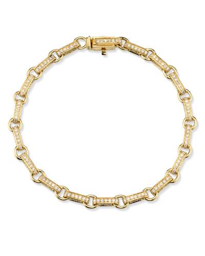 14k Gold Diamond Rectangular-Link Bracelet