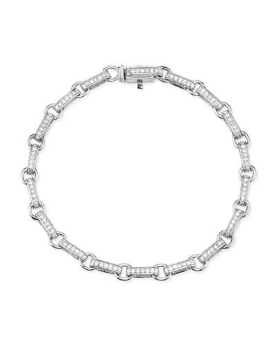 14k White Gold Diamond Rectangular-Link Bracelet
