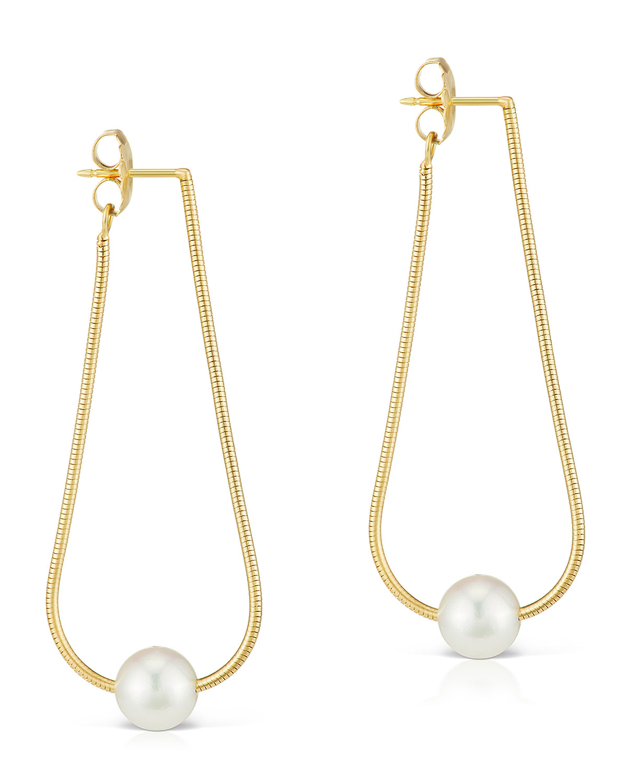 18k Tapered Hoop Earrings w/ Pearls