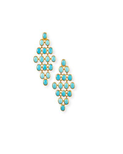 24k Turquoise Trellis Earrings, 7x5mm