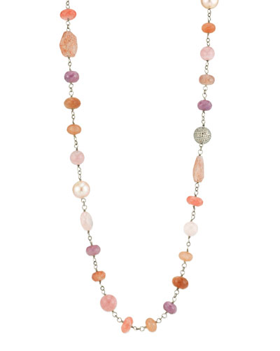 Beaded Wire Wrap Necklace w/ Diamond Bead & Pearls, Pink