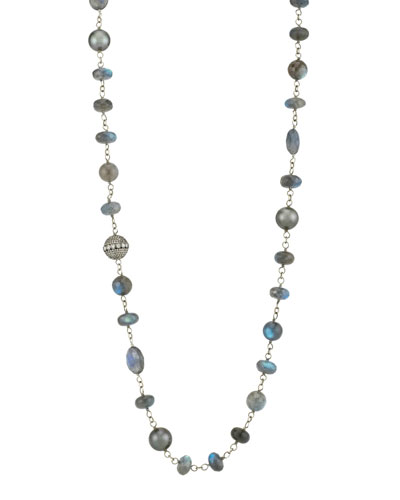 Beaded Wire Wrap Necklace w/ Diamond Bead & Pearls, Blue