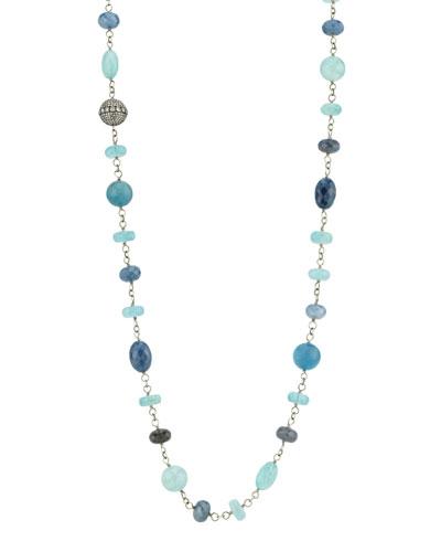 Beaded Wire Wrap Necklace w/ Diamond Bead, Blue