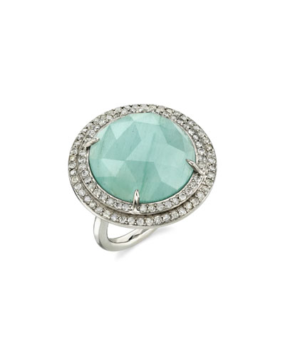 Round Aquamarine Ring w/ Double Halo, Size 7