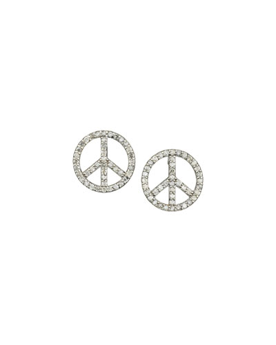 Pave Diamond Peace Sign Stud Earrings