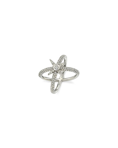 Pave Diamond Starburst Ring, Size 7