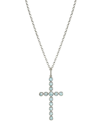 Box Chain Necklace w/ Aquamarine Cross Pendant