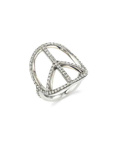 Pave Diamond Peace Sign Ring, Size 7