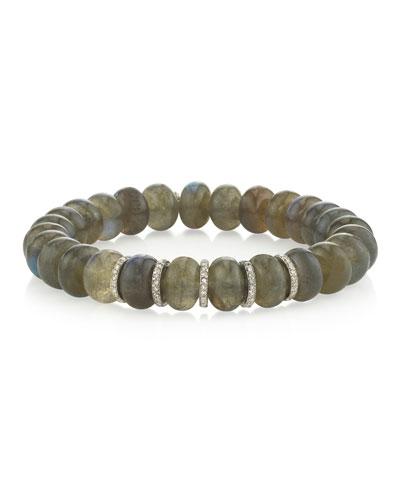 10mm Labradorite & Diamond 5-Rondelle Bracelet
