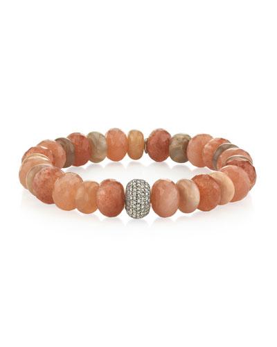 10mm Peach Stone & 1-Donut Diamond Bracelet