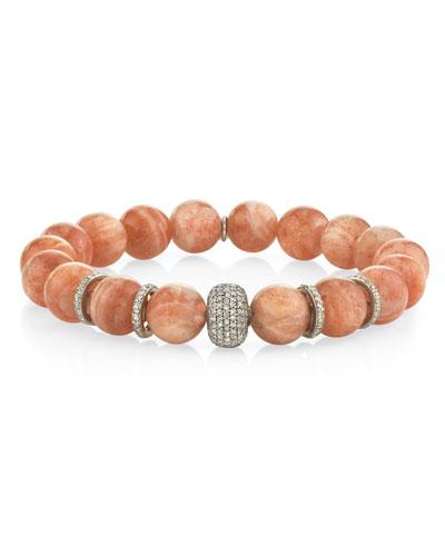10mm Sunstone & Diamond Mixed-Bead Bracelet