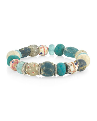 10mm Riverstone & Diamond Rondelle Bracelet