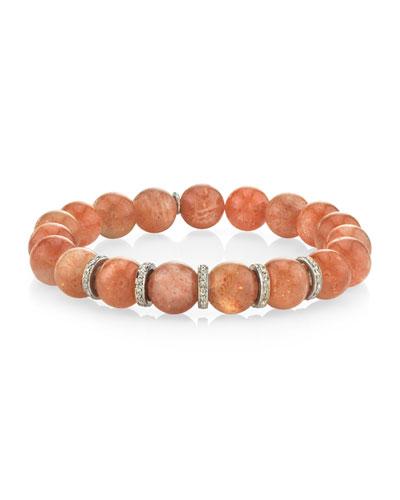 10mm Sunstone & Diamond 5-Rondelle Bracelet