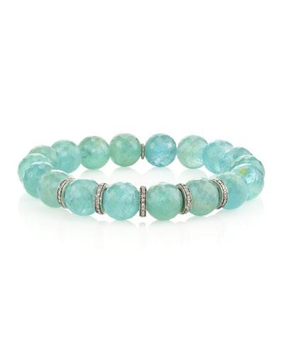 10mm Aquamarine & Diamond 5-Rondelle Bracelet