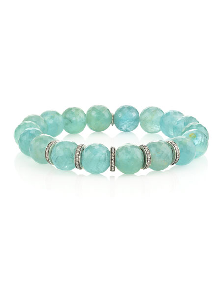 Sheryl Lowe 10mm Aquamarine & Diamond 5-Rondelle Bracelet