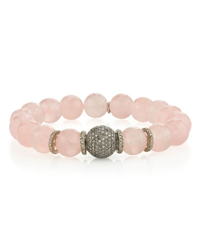 7f150607d Quick Look. Sheryl Lowe · 10mm Rose Quartz & Diamond Bead Bracelet
