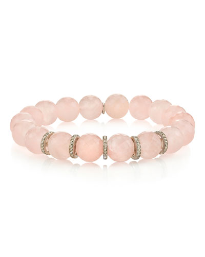10mm Rose Quartz & Diamond 5-Rondelle Bracelet