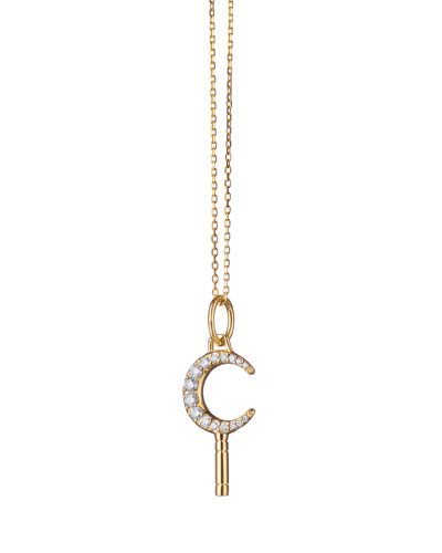 18K Yellow Gold Mini Dream Moon Key Necklace w/ White Diamonds