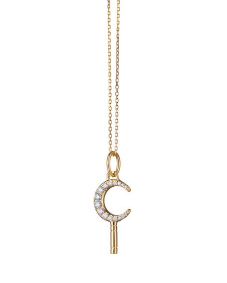 Monica Rich Kosann 18K Yellow Gold Mini Dream Moon Key Necklace w/ White Diamonds