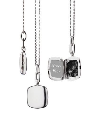 Sterling Silver Slim Cushion Locket Necklace