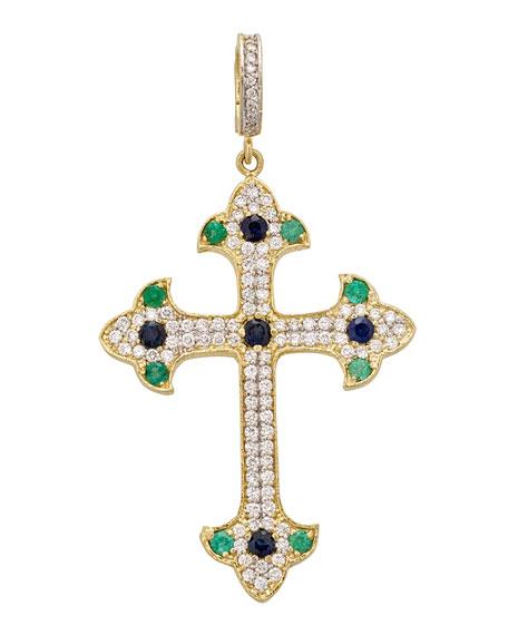 Tanya Farah 18K Royal Couture Blue Sapphire, Emerald & Diamond Cross Enhancer