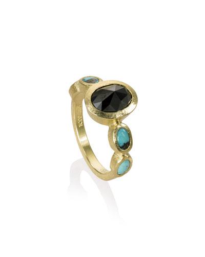 18k Black Diamond & Turquoise Ring, Size 6.5