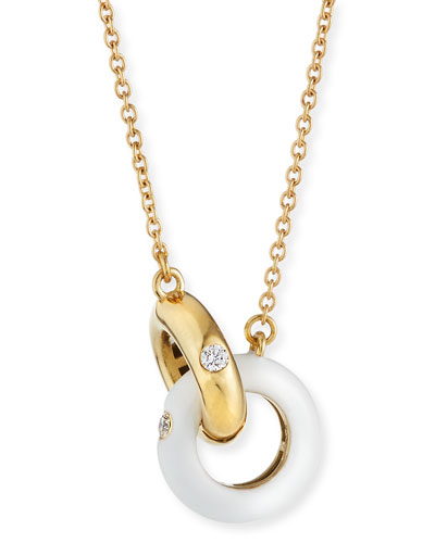18k Gold Diamond & White Enamel Necklace