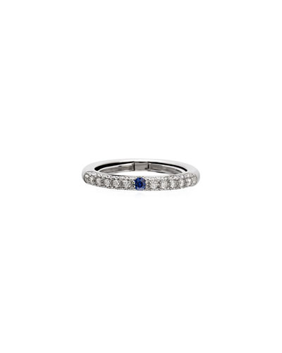 Never Ending 18k White Gold Diamond & Blue Sapphire Ring, Size 6-8