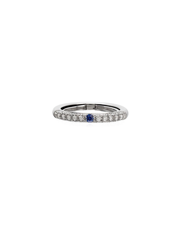 Never Ending 18k White Gold Diamond & Blue Sapphire Ring