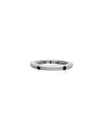 Never Ending 18k White Gold Black Diamond Ring, Size 6-8